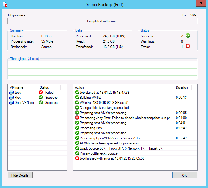 Veeam Backup & Replication 8: RPC error:Access is denied Fix