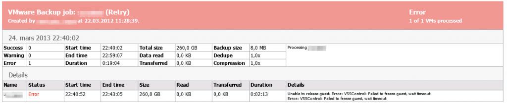 Veeam vCenterDB Backup Error