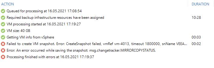 Error message in Veeam B&R