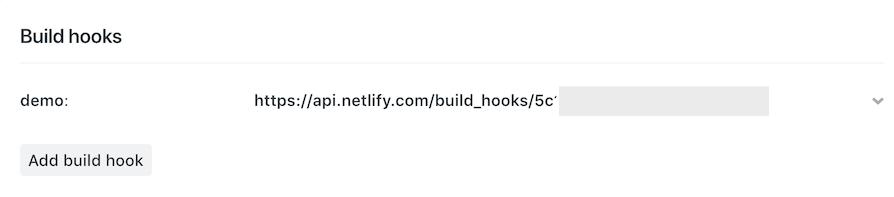 Netlify build hook URL