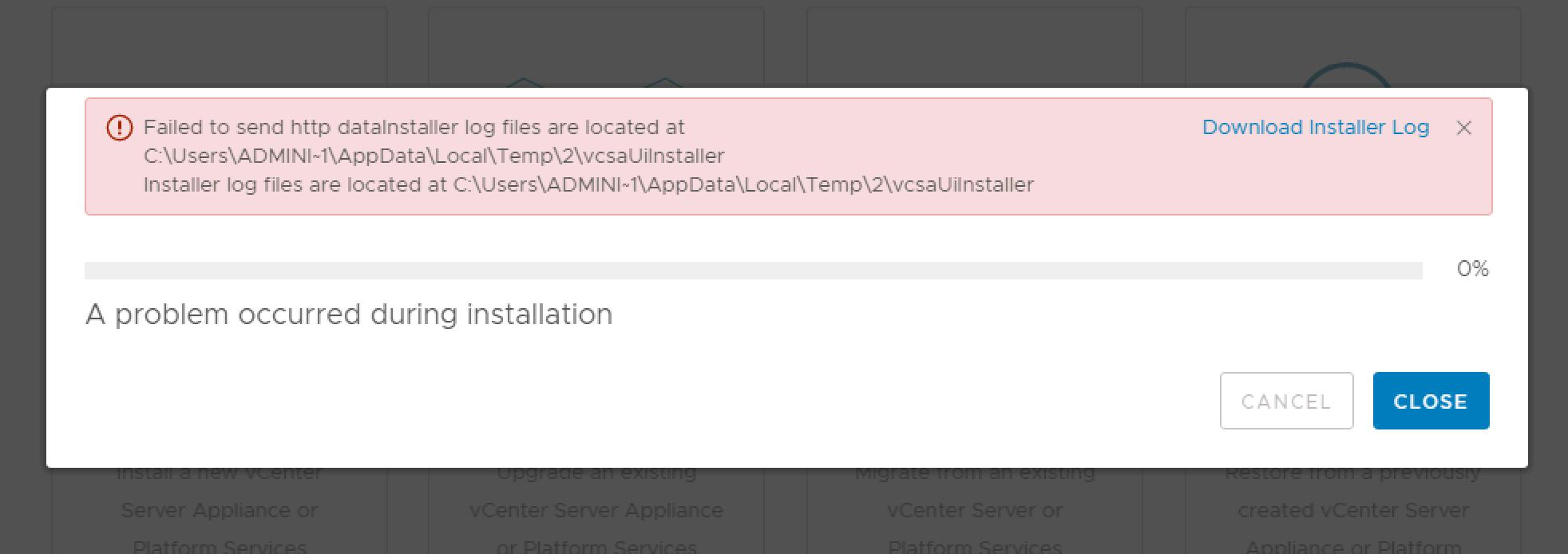 VCSA 6.7 Update 1 Upgrade Error