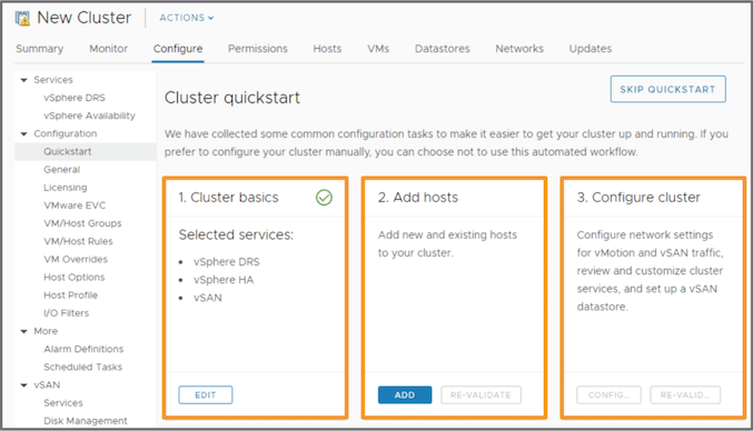 vSAN 6.7u1 — Cluster Quickstart