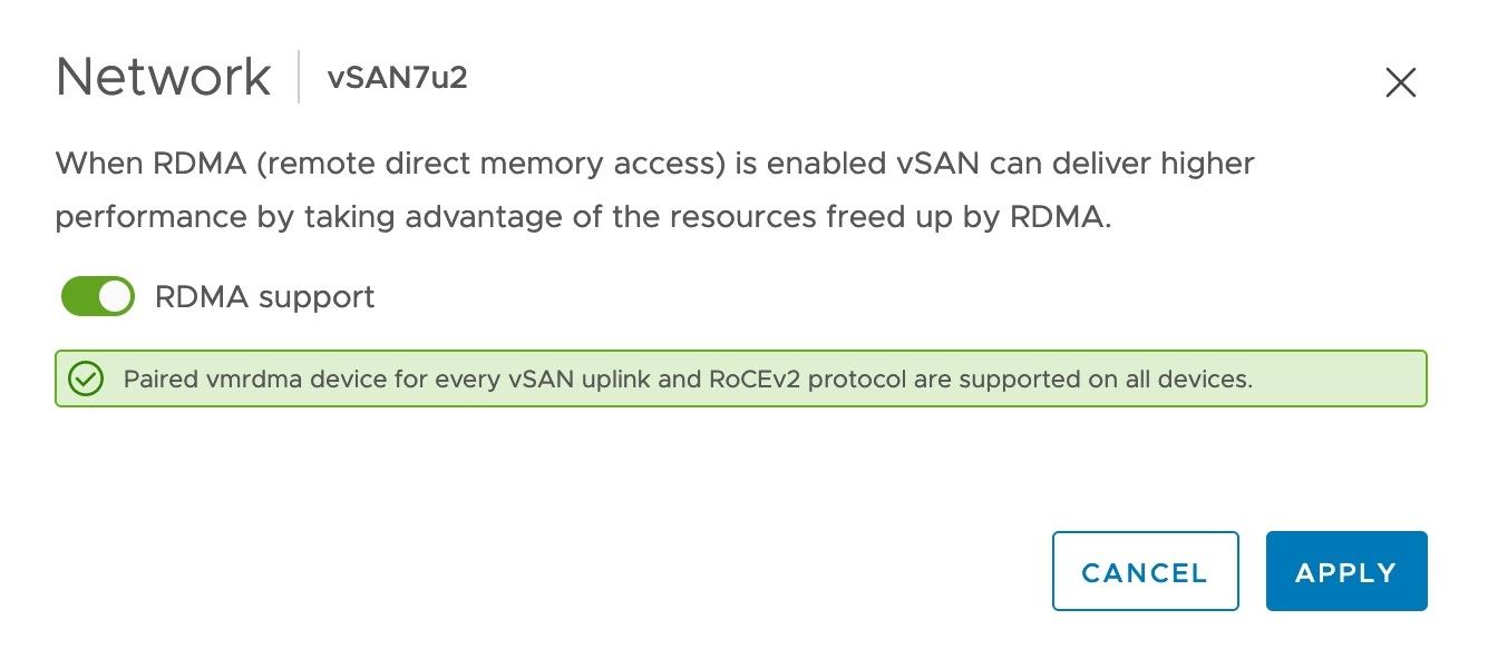 vSAN 7 Update 2 Enable RDMA