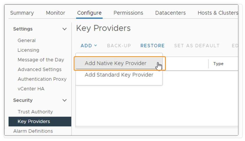 vSphere 7 Update 2 vSphere Native Key Provider